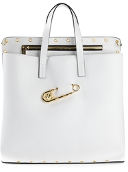 Versus Safety Pin Perforated Tote White