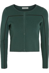 Sandro Gayle Embroidered Stretch Knit Cardigan Emerald