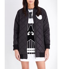 Mini Cream Logo Print Quilted Jacket Black