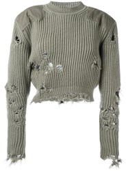 Yeezy Destroyed Cropped Jumper Green