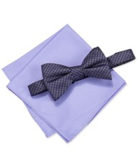 Alfani Men's Venus Neat Bow Tie And Solid Pocket Square Set Only At Macy's Purple
