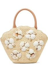 Loeffler Randall Aria Leather Trimmed Shell Embellished Woven Straw Tote Beige