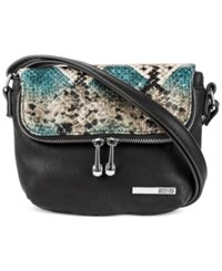 Kenneth Cole Reaction Handbag Wooster Street Foldover Flap Mini Bag Black Snake