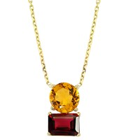 Intua Jewellery Citrine And Garnet Gold Necklace Red Gold Yellow