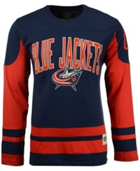 Old Time Hockey Men's Columbus Blue Jackets Dufferin Hooded Long Sleeve T Shirt Navy Red