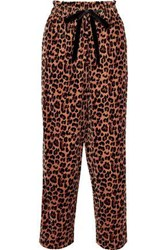 Antik Batik Gart Leopard Print Velvet Straight Leg Pants Light Brown