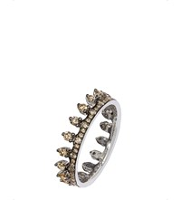 Annoushka 18Ct White Gold And Brown Diamond Crown Ring Island