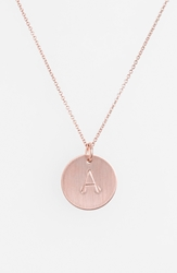 Nashelle 14K Rose Gold Fill Initial Disc Necklace 14K Rose Gold Fill A