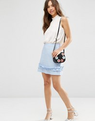 Asos Linen Mini Skirt With Ruffle Hem Blue