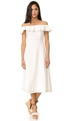 Alexander Wang T By Off Shoulder Dress White With Navy Stripes