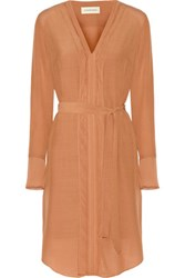 By Malene Birger Ilse Organza Trimmed Crepe Dress Tan