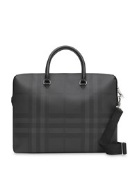 Burberry Large London Check And Leather Briefcase Black