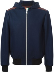 Msgm Padded Back Hooded Jacket Blue