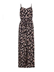 Yumi Flower Print Sleeveless Jumpsuit Black
