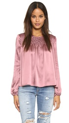 Clover Canyon Charmeuse Long Sleeve Top Mulberry