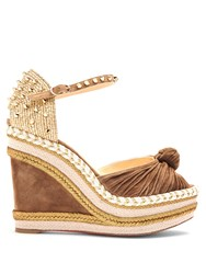 Christian Louboutin Madcarina 120Mm Suede Wedge Platforms Brown Multi