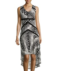 P. Luca Dot Print Sleeveless Mesh Dress Black Cream