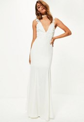 Missguided Bridal White Lace Criss Cross Bodice Maxi Dress