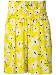 Rochas Floral Print Shorts Yellow Orange