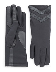 Isotoner Leather Accented Chevron Tech Gloves Grey
