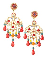 Beaded Chandelier Clip Earrings Red Multicolor Multi Colors Jose And Maria Barrera