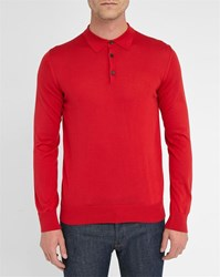 Melindagloss Red Silk Polo Neck Sweater