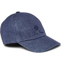 Loro Piana Embroidered Linen And Cotton Blend Baseball Cap Blue