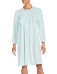 Miss Elaine Petite Floral Embroidered Nightgown Green