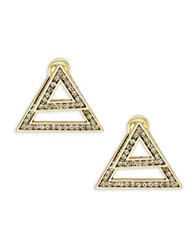 House Of Harlow Hour Angular Front Back Earrings Gold