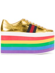 Gucci Rainbow Sole Lace Up Flatform Trainers Women Leather Rubber 35 Metallic