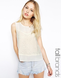 Glamorous Tall Lace Panel Sleeveless Top Cream