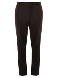 Givenchy Velvet Side Trim Slim Leg Trousers Black