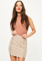 Missguided Petite Exclusive Nude Faux Suede Double Zipper Skirt
