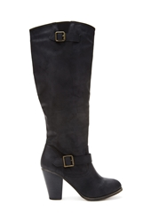Forever 21 Buckled Knee High Boots Wide