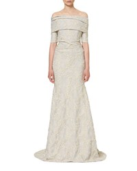 Carolina Herrera Textured Off The Shoulder Mermaid Gown White Gold