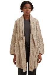 Lauren Manoogian Patchwork Cable Knitted Cardigan Beige