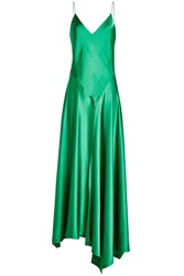Dkny Satin Dress With Asymmetric Hemline Green