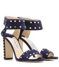 Jimmy Choo Veto 100 Embellished Leather Sandals Blue