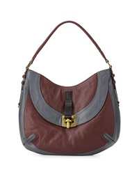 Oryany Bessie Colorblock Leather Hobo Bag Espresso Multi