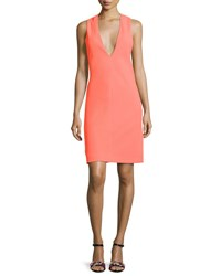 Narciso Rodriguez Deep Armhole V Neck Shift Dress Bright Orange