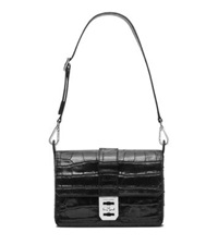 Michael Kors Mila Large Embossed Leather Shoulder Bag Black
