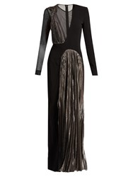 Christopher Kane Asymmetric Long Sleeved Cady And Lame Gown Black Pink