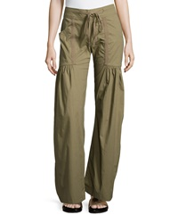 Xcvi Willowy Wide Leg Drawstring Cargo Pants Mantis