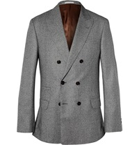 Brunello Cucinelli Double Breasted Houndstooth Wool Jacket Gray
