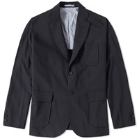Beams Plus 3 Button Stretch Blazer Blue