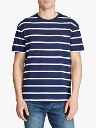 Ralph Lauren Polo Custom Slim Fit Striped T Shirt Newport Navy Nevis