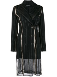 Y Project Pinstripe Double Breasted Coat Black