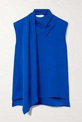 Adam By Adam Lippes Draped Crepe Top Royal Blue