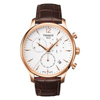 Tissot T0636173603700 Men's Tradition Chronograph Date Leather Strap Watch Brown White