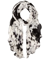 Calvin Klein Tonal Floral Ruffle Scarf Black Heather Grey Scarves